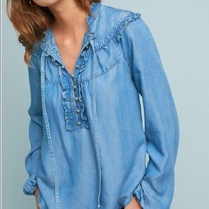 Anthropologie Pilcro Ruffled Chambray Blouse